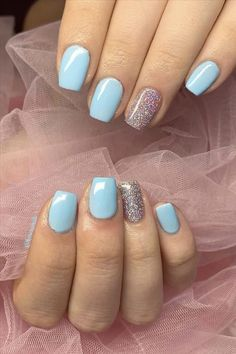 Seven inspirational blue nail art collections the stylish girl you must try - Abby FASHION STYLE Cute Nail Art Designs, Short Nail Designs, Colorful Nail Designs, Gel Nail Designs, Colorful Nails, Pedicure Designs, Shellac Nail Art, Gel Manicure, Ocean Blue Nails