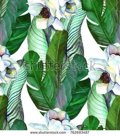 Tropical watercolor seamless pattern with banana leaves,  magnolia. Illustration drawn by hand in Hawaiian style with exotic plants. Botanical background with banana  foliage
