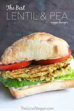 The Best Lentil and Pea Veggie Burger — The Local Vegan™ Official Website Best Vegan Burger Recipe, Vegan Burgers, Burger Recipes, Veggie Recipes, Lunch Recipes, Whole Food Recipes, Cooking Recipes, Lentil Burgers, Chickpea Burger