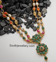 Navratna Necklace with Emerald Pendant - Indian Jewellery Designs Gold Jewelry Simple, Gold Rings Jewelry, Emerald Jewelry, Gold Jewellery Design, Stone Jewelry, Antique Jewelry, Beaded Jewelry, Jewelery, Simple Necklace