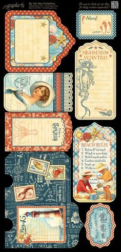 Cardstock Tags & Pockets from our new collection, By the Sea! Look for it in stores in early February #graphic45