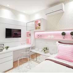 121 fantastic small apartment bedroom college design ideas and decor – page 29 Cute Room Decor, Cute Bedroom Ideas, Girl Bedroom Designs, Girls Bedroom, Bedroom Decor, Bedroom Bed, Preteen Girls Rooms, White Bedroom, Dream Rooms
