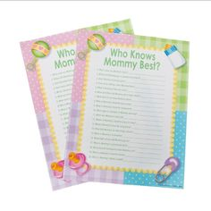 """Looking for a fun game for all your guests at your baby shower? Try this """"I Remember Mommy"""" game! Each of these 24 sheets are colorfully decorated and have 20 q"""