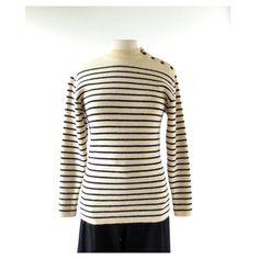 Vintage Sailor Sweater  Breton Shirt  Wool by SmallEarthVintage
