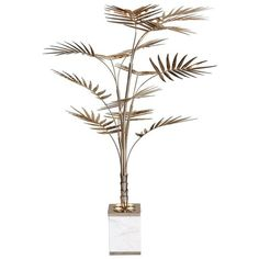 European Ivete Gold, Brass And Marble Palm Tree Floor Lamp Or Table... (€3.500) ❤ liked on Polyvore featuring home, lighting, floor lamps, gold, marble floor lamp, brass floor lamp, european palm, gold lamp and gold light
