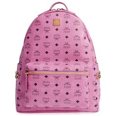 Women's Mcm 'Medium Stark' Side Stud Backpack ($790) ❤ liked on Polyvore featuring bags, backpacks, backpack, pink, padded bag, mcm, studded backpack, paper bag and pocket bag