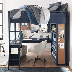 Sturdy, stylish and fun to decorate, our GREENGUARD Gold Certified Sleep + Study® Loft Bed has everything you need in one charming package. It features a loft bed over a compact desk with ample storage space, including shelving on both sides …