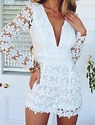Promotion 2015 Love Girl Lace Flower Jumpsuit Women Long Sleeve Casual Treacle V-Neck White Sexy Jumpsuit Women 2014 New Long Sleeve Playsuit, Lace Playsuit, White Playsuit, White Lace Jumpsuit, Lace Dress, Elegant Jumpsuit, Casual Jumpsuit, White Dress, Jumpsuits For Women