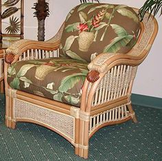 Armchair with Cushion in Natural Finish (Yvonne Aloe (All Weather)). Fabric: Yvonne Aloe (All Weather). Solid Wicker Construction. Natural Finish. For indoor, or covered patio use only. Includes cushions.