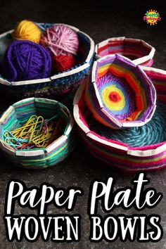 Learn how to turn an ordinary paper plate into a colourful, woven bowl to store trinkets and treasures in. Great activity for elementary aged kids, tweens and teens. It's a fun way to develop early weaving skills and use up scrap yarn. Yarn Crafts For Kids, Farm Crafts, Crafts For Seniors, Craft Kids, Projects For Kids, Art For Kids, Crafts With Wool, Easy Yarn Crafts, Class Projects