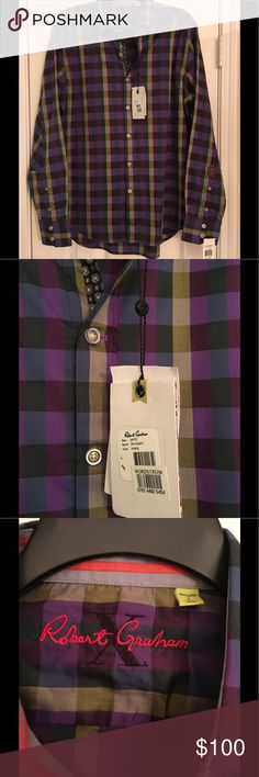 Gorgeous, NWT, Robert Graham button down.🎁🎁🎁🎁 Never worn, never tried on. Excellent condition Robert Graham shirt from Nordstroms. Pair this with the Robert Graham tote bag in my closet you're set to go!! Add a pair of jeans. And make me an incredible offer. Robert Graham Tops Button Down Shirts