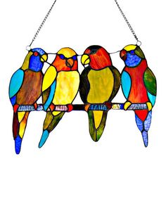 Another great find on #zulily! Stained Glass Tropical Birds Window Panel #zulilyfinds
