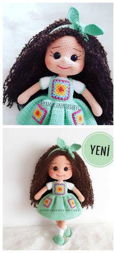 Doll Amigurumi Free Pattern, Doll Patterns Free, Crochet Amigurumi Free Patterns, Crochet Doll Pattern, Amigurumi Doll, Crochet For Kids, Crochet Baby, Crochet Geek, Double Crochet