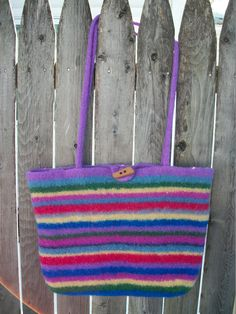 Felted Wool Striped Purse/Tote Bag - pinned by pin4etsy.com