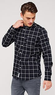 Checked cotton shirt in black / white