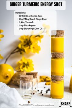 Ginger Turmeric Energy Shot Recipe for your regular Immunity Boost prepared in less than 5 minutes of 5 powerful ingredients. Fully Sugar-Free, Low Carb, Gluten-Free and Keto, those Wellness Shots will load you up with energy like no others. As a chronic pain sufferer, I'm always trying things to try to cut down on inflammation. We've made this every week and keep cute little bottles in the fridge and drink one daily. I think they've made a significant difference in my health and pain levels.