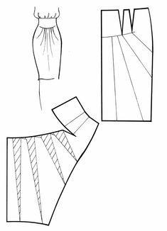 Skirt Pattern - cut and spread method. Skirt Patterns Sewing, Sewing Patterns Free, Clothing Patterns, Sewing Tutorials, Dress Tutorials, Coat Patterns, Blouse Patterns, Pattern Draping, Pattern Cutting