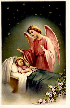 """Vintage Guardian Angel Card 3.5"""" x 5.5"""" 1940's Star Collection"""