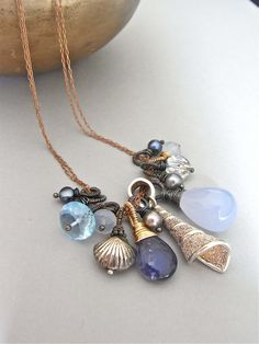 Necklace - sterling silver, red brass, wire wrapped, oxidised, mixed gemstone, freshwater pearl - Mermaid.