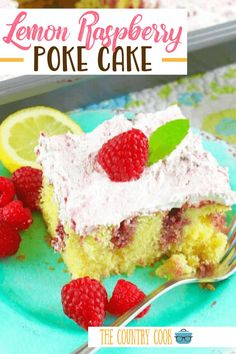 10 Most Misleading Foods That We Imagined Were Being Nutritious! Lemon Raspberry Poke Cake Starts Off With A Lemon Cake Mix, Then Raspberry Preserves Are Poked Into The Cake And Topped With Raspberry Whipped Topping No Cook Desserts, Easy Desserts, Dessert Recipes, Summer Desserts, Dessert Ideas, Delicious Cake Recipes, Yummy Cakes, Yummy Food, Poke Cakes