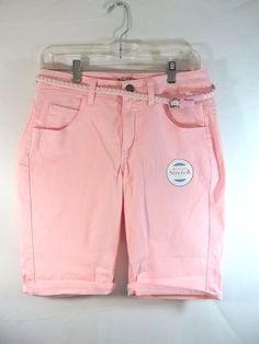 Lee Pink Shorts Bermuda Walking 6 Belted Stretch Denim #Lee #BermudaWalking