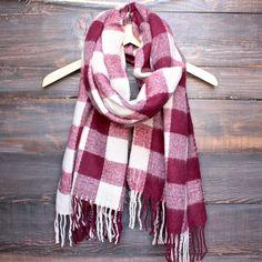 burgundy + cream plaid scarf with fringe tassels