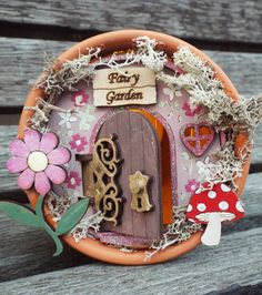 FAIRY GARDEN FLOWERPOT House. Hand-painted and finished fairy