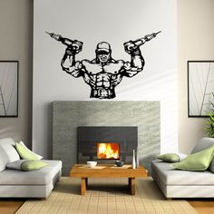 57*97CM Fitness Gym Wall Decal Sport Muscle Man Dumbbell Barbell Bodybuilder Art Wall Sticker Fitness Centre Bedroom Home Decora #Affiliate
