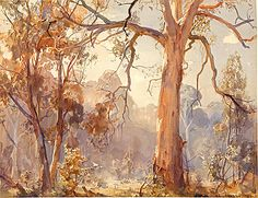 Hans Heysen - (Gurney Journey: Weaving warm and cool threads throughout the picture) Australian Painting, Australian Artists, Art Terms, Tree Artwork, Environment Concept Art, Landscape Paintings, Tree Paintings, Beautiful Paintings, Love Art