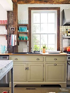 Green Color On Cupboard Hinge Kitchen