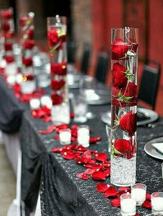 60 Great Unique Wedding Centerpiece Ideas Like No Other red rose wedding centerpieces Red Rose Wedding, Wedding Colors, Wedding Flowers, Wedding Day, Rustic Wedding, Red Silver Wedding, Wedding Ceremony, Crimson Wedding Ideas, Buffet Wedding