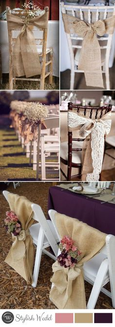 rustic wedding chair decors with burlap wedding chairs Great Ways to Decorate Your Weddding Chair Wedding Chair Decorations, Wedding Chairs, Wedding Themes, Wedding Centerpieces, Wedding Table, Wedding Ceremony, Wedding Venues, Wedding Chair Covers, Rustic Party Decorations