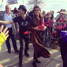 Nikki and Ian Somerhalder with fans at MardiPaws Parade in NOLA serving as MardiPaws Gran Monarch, Sunday,  February 14, 2016