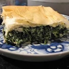 Spanakopita - a Greek filo pastry pie with spinach and feta cheese. Greek Recipes, Pie Recipes, Vegetable Recipes, Cooking Recipes, Cooking Ribs, Cooking Salmon, Cooking Games, Cooking Turkey, Cooking Ideas