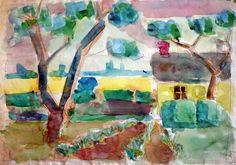 Grandma's lot - Watercolor 1960 - Claus Ib Olsen - (1600×1122)