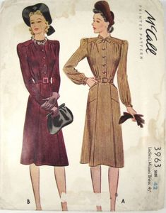 McCall 3963: Ladies' and misses' dress pattern from 1940