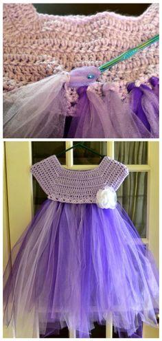 DIY Crochet Tutu Dress Bodice Free Patterns Diy Crochet Tutu Dress, Tutu Diy, Tutu En Tulle, Black Crochet Dress, Crochet Diy, Diy Dress, Tulle Dress, Crochet Clothes, Crochet Dresses