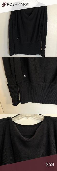 "EUC Lululemon Black Sweater Cuffs Thick This beautiful sweater is free of any flaws, very gently worn.  There are no tags of any kind.  I am a true medium and it fits me beautifully.  Please rely on the below measurements:  Length 24.5"" Pit to pit 24"" (has additional stretch) Arm length 24-25"" (depending on how wide your shoulders are) Waist/top of hip 31"" (has additional stretch) Shoulder to shoulder 17-19"" (no shoulder seam) lululemon athletica Sweaters Crew & Scoop Necks"