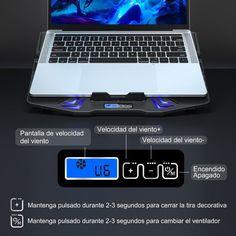 TopMate laptop cooling pad tiene 6 velocidades de viento y 3 modos de funcionamiento del ventilador. La pantalla muestra información sobre varias velocidades del viento y los botones le permiten cambiar de modo. Laptop Cooling Pad, Pulsar, Buttons, Display
