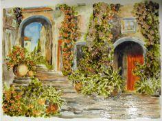 Görög utca 20x30 cm üvegfestmény (2015.)  Greek street 20x30 cm glass painting (2015)  I made: Jakobiczné Klári (Borisanyu) borishop.hu