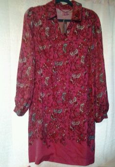 Lilly Pulitzer Size 10  french flower design lDress nwt LS silk #LillyPulitzer #ShirtDress