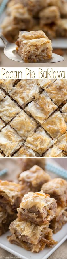 Pecan Pie Baklava has layers of flaky phyllo with pecans butter and a pecan pie flavored syrup! Pecan Pie Baklava has layers of flaky phyllo with pecans butter and a pecan pie flavored syrup! Yummy Treats, Sweet Treats, Yummy Food, 13 Desserts, Dessert Recipes, Plated Desserts, Dessert Bars, Baklava Dessert, Fudge Caramel