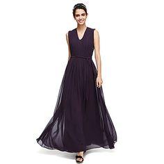 2017+Lanting+bride®+αστράγαλο+μήκους+Ζορζέτ+κομψό+φόρεμα+παράνυμφων+-+ένα-γραμμή+V-λαιμό+με+σκέπασμα+–+EUR+€+65.30