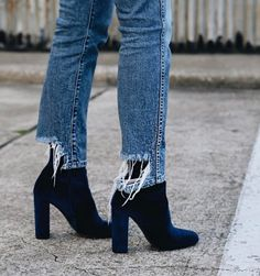 pegged jeans and velvet booties