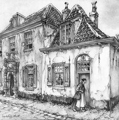 De vrijwoningen van de Bruntskameren aan het Bruntenhof, 1953 | Anton Pieck