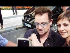 Bono with fans, hotel Plaza Athenee in Paris, before going to Stade de France for 360 tour #u2newsactualite #u2newsactualitepinterest #u2 #bono #paulhewson #music #rock #video #fan #france #paris #autograph #hotel #sign