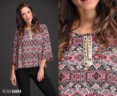 Sumate a dos de las #tendencias más fuertes de la temporada #OtoñoInvierno con la nueva Blusa Gaura. Su diseño conjuga dos novedades de la #NuevaTemporada: estampado con motivo búlgaros geométricos y mangas acampanadas. ¡Encontrala en talles S a XL!