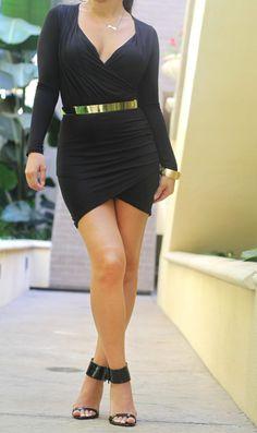 Black 'It's a Wrap' Mini Dress