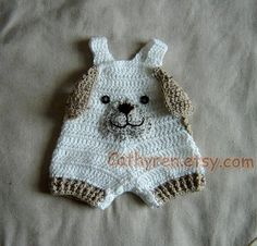 Baby Puppy Overall Shorties,Shortall, Buttons at Legs for Easy Change, Photo Prop - INSTANT DOWNLOAD Crochet Pattern