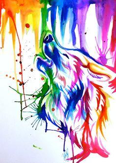 Rainbow Wolf Tattoo Sleeve by Lucky978.deviantart.com on @deviantART